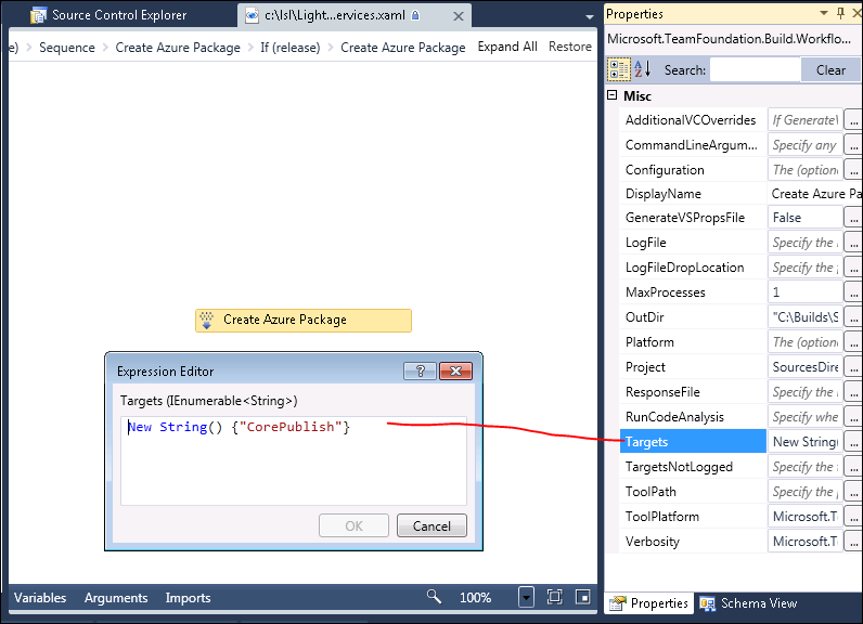 How to automate the creation of a Windows Azure 1 3 package in Team
